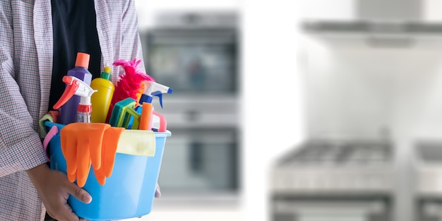 Homem, limpeza, serviço, conceito, sala limpa, e, escritório, ferramentas