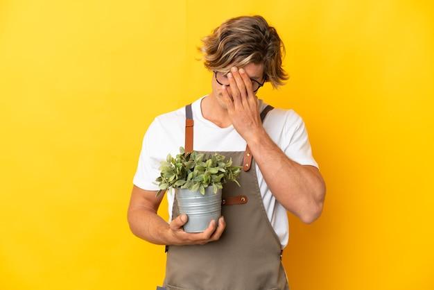 Homem loiro de jardineiro segurando uma planta isolada em um fundo amarelo com uma expressão cansada e doente