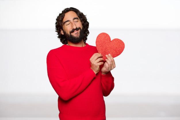 Homem louco novo no amor, conceito do dia de valentim.