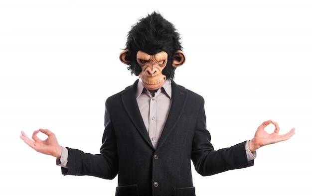 Homem macaco em posição zen