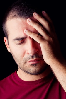 Homem macho, com, um, dor de cabeça