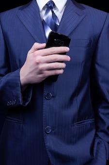 Homem, mão smartphone