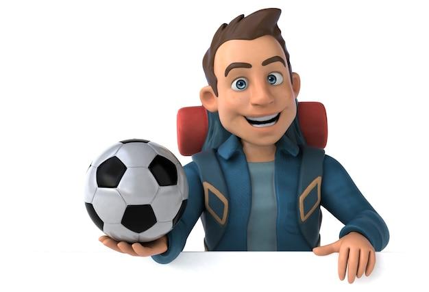 Homem mochileiro de desenho 3d com bola de futebol