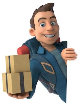 Homem mochileiro de desenho 3d com caixas de papelão