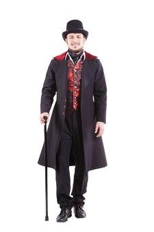 Homem moda retrô com barba vestindo terno preto. segurando uma bengala. isolado em fundo branco