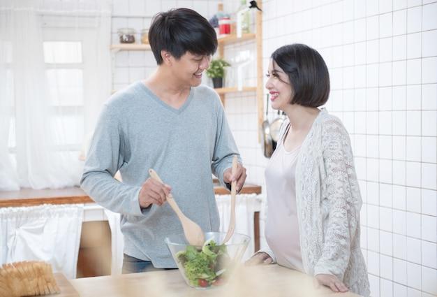 Homem mulher, cozinhando cozinha