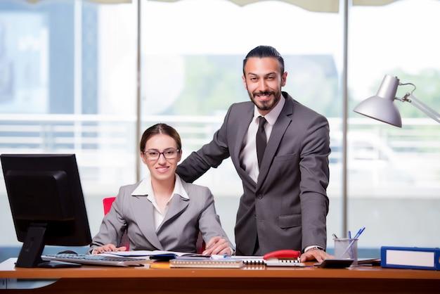 Homem mulher, em, conceito negócio