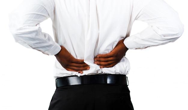 Homem musculoso com backpain