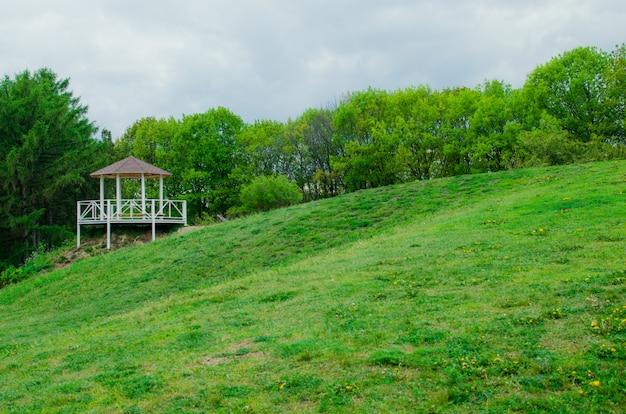 Homem na caminhada ao ar livre verde do windcheater no banco do lago.