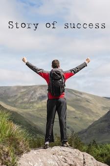 Homem na parte superior de uma montanha com a frase inspiradora