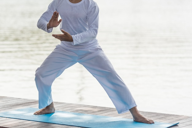 Homem na pose de tai chi, artes marciais chinesas, fim acima.
