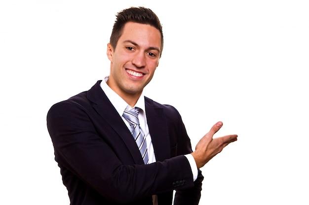 Homem negócio, apresentando, sobre, um, branca