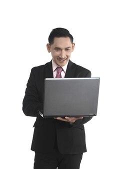 Homem negócio asiático, segurando laptop