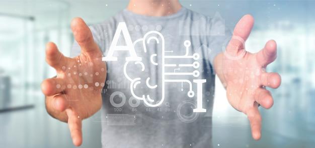 Homem negócio, segurando, inteligência artificial, ícone, com, metade, cérebro, e, meio, circuito, 3d, fazendo