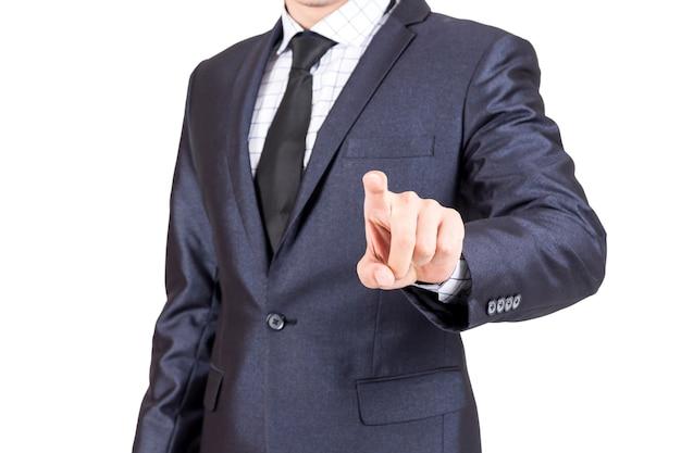 Homem negócios, apertando, virtual, telas