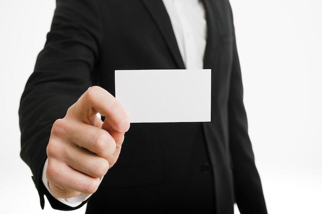 Homem negócios, apresentando, cartão negócio