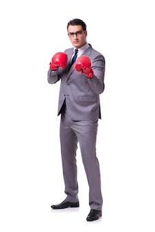 Homem negócios, boxe, isolado