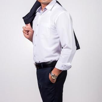Homem negócios, branco, fundo