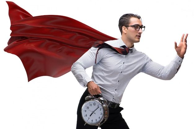 Homem negócios, com, capa vermelha, e, despertador