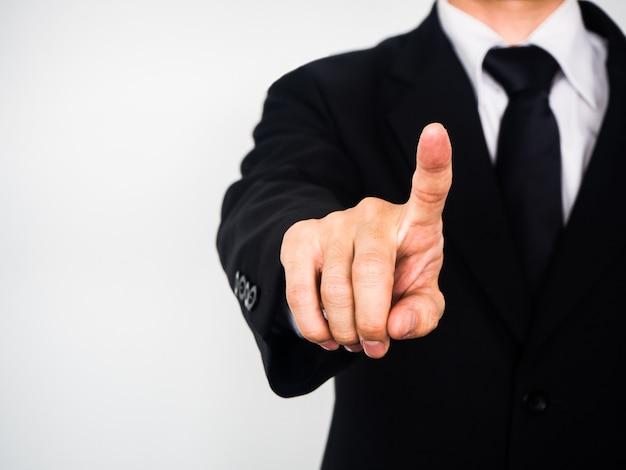 Homem negócios, com, dedo apontando, ligado, tela