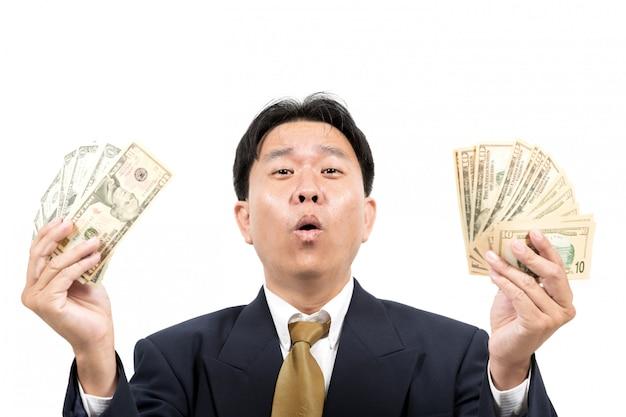Homem negócios, com, dinheiro