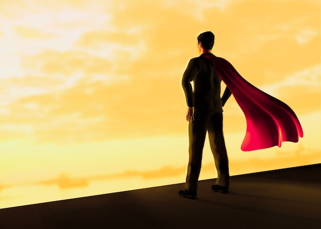 Homem negócios, com, um, vermelho, voando, capa, 3d, ilustração