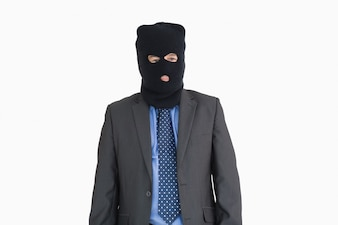 Homem negócios, como, um, ladrão