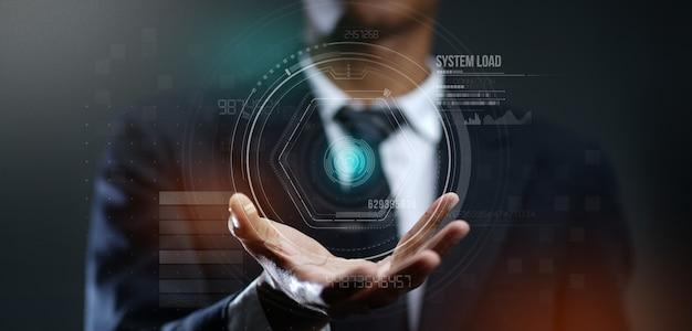 Homem negócios, criando, futurista, círculo, holog, holograma