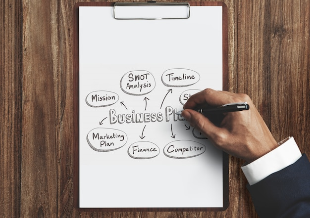 Homem negócios, desenho, um, plano negócio