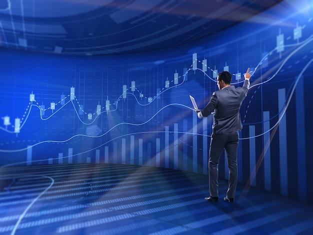 Homem negócios, em, bolsa de valores, negociando, conceito