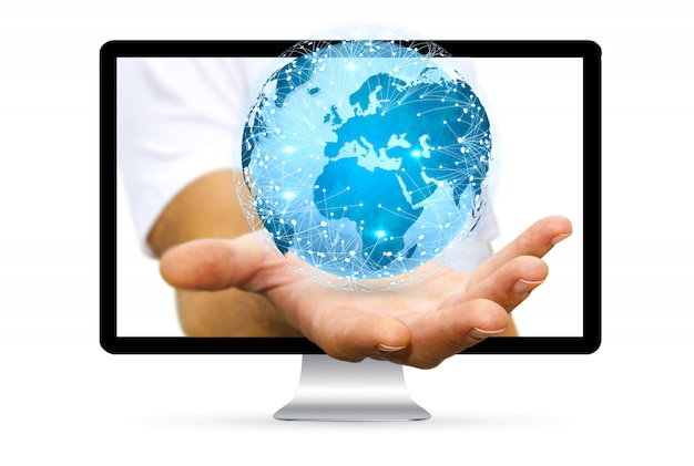 Homem negócios, em, escritório, usando, rede dados digitais