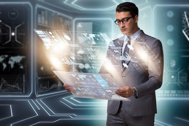 Homem negócios, em, grande, dados, gerência, conceito