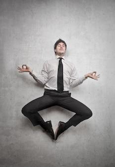 Homem negócios, em, meditação