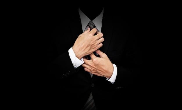 Homem negócios, em, terno preto
