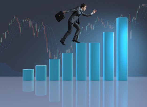 Homem negócios, escalando, carreira, escada, como, comerciante, corretor