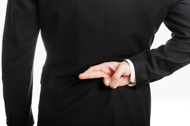 Homem negócios, fazendo, gesto, costas