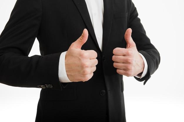 Homem negócios, fazendo, polegares cima, com, ambos, mãos