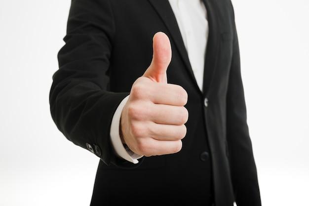 Homem negócios, fazendo, polegares cima, gesto