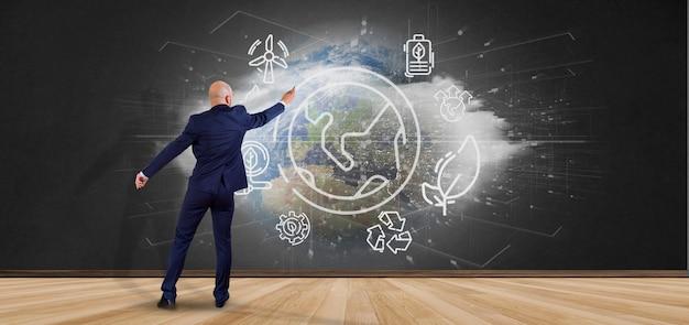 Homem negócios, frente, um, globo mundial, surronding, por, ecologia, ícones, e, conexão, 3d, fazendo