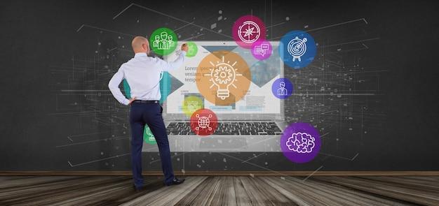 Homem negócios, frente, um, nuvem, de, colorfull, arranque, ícone bolha, com, um, laptop, 3d, fazendo