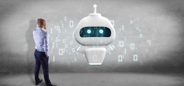 Homem negócios, frente, um, parede, com, chatbot, com, código binário, 3d, fazendo