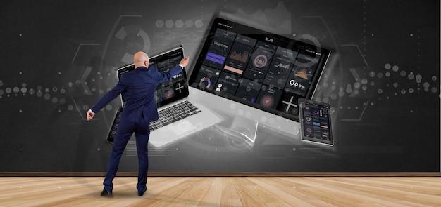 Homem negócios, frente, um, parede, com, dispositivos, conectado, para, um, nuvem, multimedia, rede, 3d, fazendo