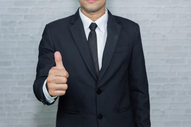 Homem negócios, ligado, experiência cinza