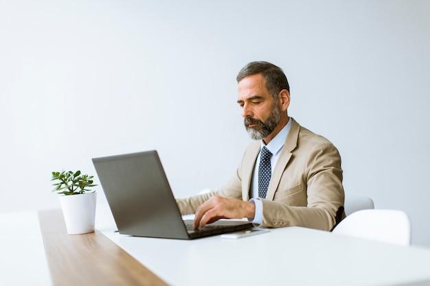 Homem negócios maduro, em, terno clássico, usando, um, laptop, enquanto, trabalhando, em, seu, escritório