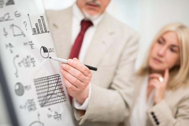 Homem negócios, mostrando, dados, ligado, um, whiteboard, durante, um, reunião