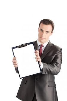 Homem negócios, mostrando, em branco, área de transferência