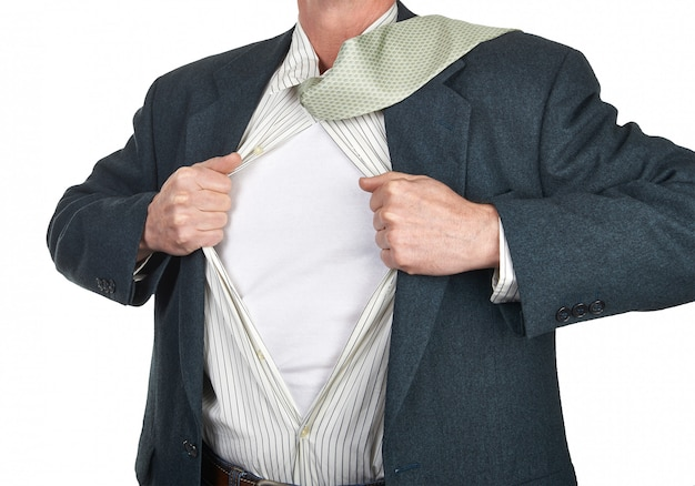 Homem negócios, mostrando, superhero, paleto, embaixo, seu, camisa