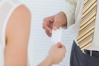 Homem negócios, passagem, seu, cartão negócio