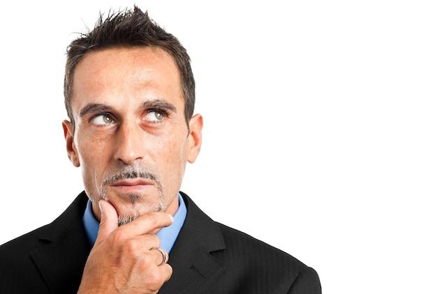 Homem negócios, pensando, algo
