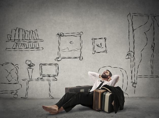Homem negócios, relaxante, entre, desengates
